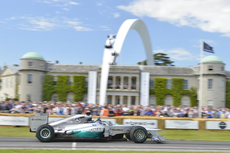 Anthony Davidson drives the Mercedes F1 W04 at the 2014 Festival of Speed