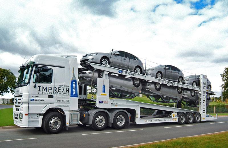Upside down Subaglue car transporter for Subaru Impreza launch