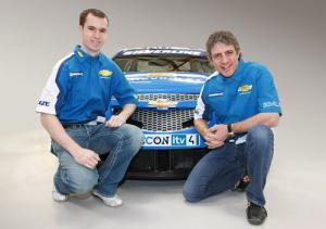 Alex MacDowall and Jason Plato with the 2010 Silverline Chevrolet Cruze BTCC car