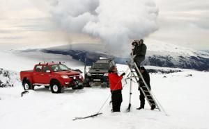 Toyota Hilux drives to Iceland's Eyjafallajökull volcano