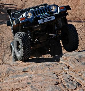 Rachel tests her Wrangler's abilities on the Moab trails