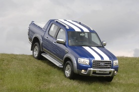 "Ford Ranger Wildtrak in Performance Blue with ""Le Mans"" style white bonnet stripes"