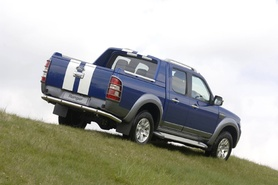 "Ford Ranger Wildtrak in Performance Blue with ""Le Mans"" style white bonnet stripes-5800"
